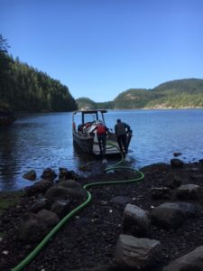 Marine outhouse pumping in Desolation Sound